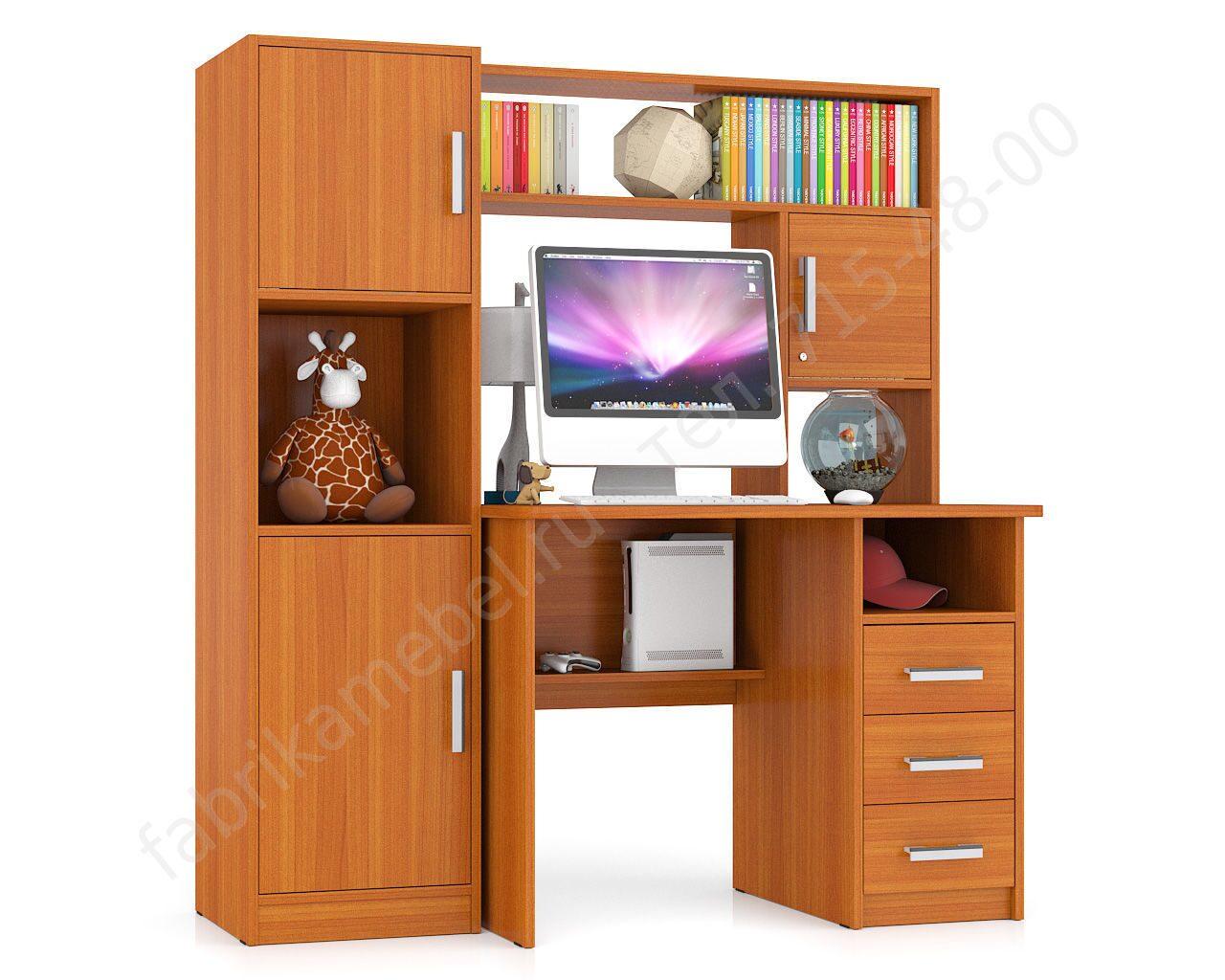 Компьютерные столы с надстройкой и шкафчиками - купить недор.